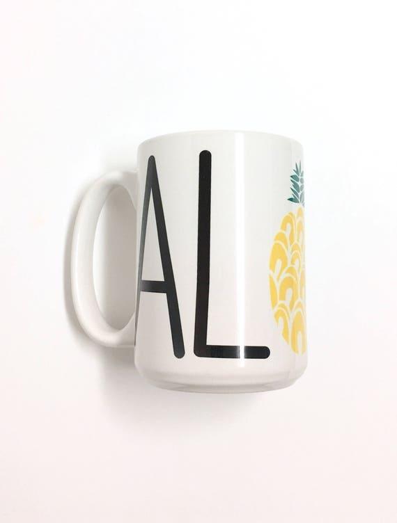 Aloha Pineapple Mug |coffee mug | Aloha mug | Hawaii mug| ceramic mug | Beach mug |pineapple mug