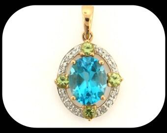 Simon Golub 14K Yellow Gold Blue Topaz Peridot & Diamond PENDANT