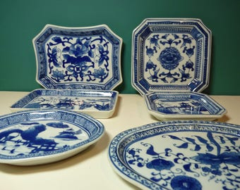 Multi-shapped Blue & White Decorative Plates