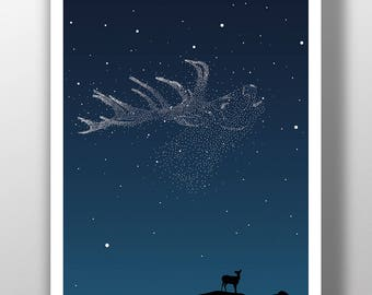 Midnight Sky Stag Poster