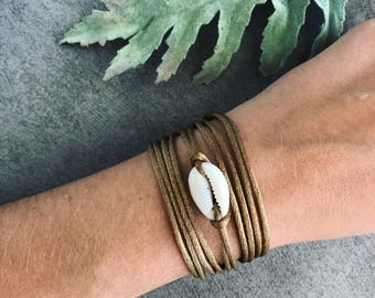 Boho cowrie shell wrap bracelet gold, Summer beach jewelry