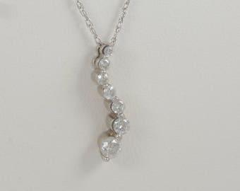 "Vintage Estate 14k White Gold Diamond S Journey Pendant on 18"" Spiral Rope Chain"