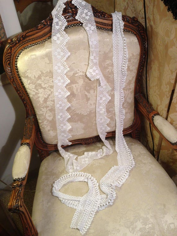 2 pieces edwardian crochet edging. 70x4 inches and 72x3 inches. Good