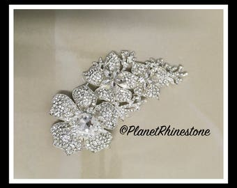 Flower Branch Crystal Rhinestone Brooch #B-10
