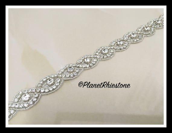 1 yard Iron-on/Sew crystal trim Silver, Gold) #I-3