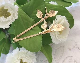 Gold Leaf Hair Pin, Gold Leaves Hair Clip, Wedding Hair piece, Bridal Hair Pins,Bobby Pin,Boho Hair Accessories
