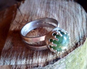 Tasmanian Buttongrass Jade 100% Recycled Sterling Silver Ring