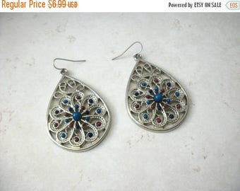 ON SALE Retro Silver Tone Filigree Beaded Dangle Earrings 72517