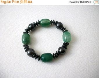 ON SALE Retro Aventurine Semi Precious Beads Hematite Stretch Bracelet 8516