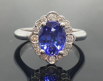 Tanzanite Engagement Ring - 14K White Gold Tanzanite Diamond Halo Engagement Ring - Bezel Diamond Halo Tanzanite Ring - 14K Tanzanite Ring