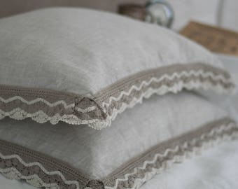Pillow cover with lace border, cottage chic pillow sham, standard, euro, queen and king sizes, luxury linen bedding handmade