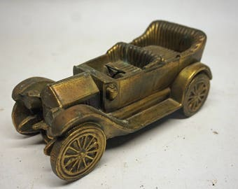 Vintage Brass Plated Die Cast Car,  Heavy Antique Car Model, Paperweight, Collectible, Automotive