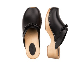 Black clogs | Kulikstyle | Swedish Clogs | Shoes | Sandals with chain  | clog sandals | women clogs | wooden clogs | wood clogs  | Black