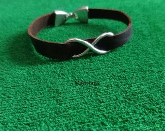 Genuine leather infinity women's leather bracelet zamak clasp custom womens girls bracelet ladies gift for her