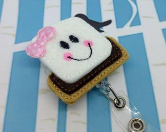 Embroidered Felt Badge Reel - S'mores Retractable Badge Reel - Pink S'mores ID Badge Holder - Campfire Badge Reel Clip - Set of 1