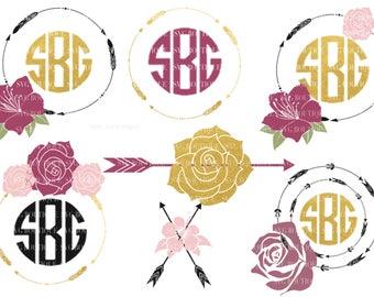 Flower Frame SVG, Floral Arrow Monogram SVG File, Arrow Circle, Tribal Arrow SVG, Boho Wreath, Cut Files, Bundle, Cricut, Silhouette