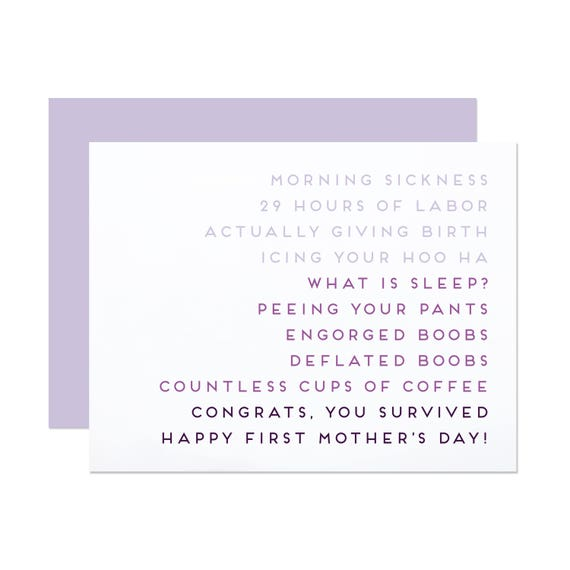 Congrats, You Survived! - First Mother's Day Card