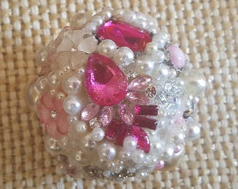 Gorgeous Sparkly Jeweled Rhinestone and Pearl Encrusted Handmade Wedding Kissing Ball