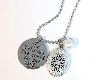 She Believed she Could, so she Did.  Diffuser, diffusing necklace for aromatherapy with essential oils