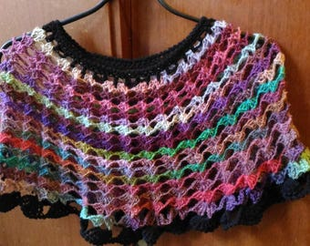 multicolored poncho crochet pattern