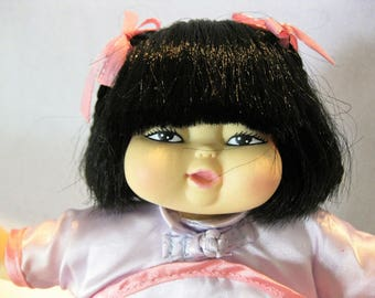 """Sweet Asian baby doll 8"""" vinyl head arms legs cloth body rooted hair"""