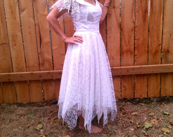 Vintage wedding dress // Fairy wedding dress // 80s wedding dress // White wedding dress // Halloween costume // zombie costume