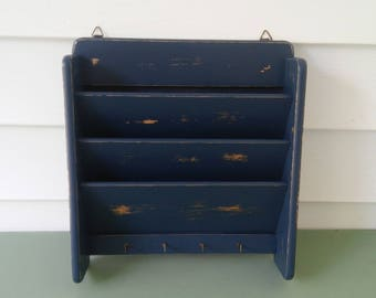 A Vintage Large, Wide, Wood Mail/Key Holder, Up-Cycled In Lonestar Blue