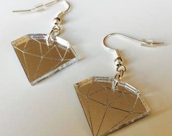 Diamond | Geometric | Emo | Tattoo  | Mirrored | Silver | Laser Cut | Acrylic | Earrings