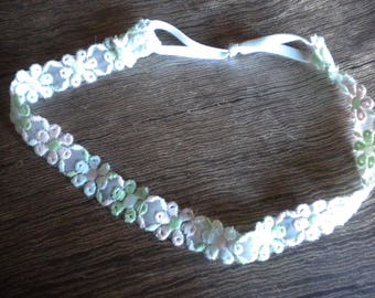 one hundred percent cotton lace head band is handmade