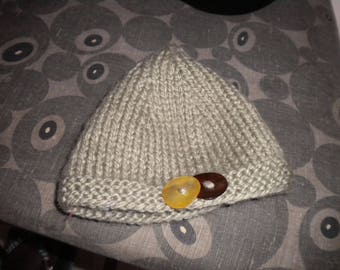 Beanie hand knit beige tweed