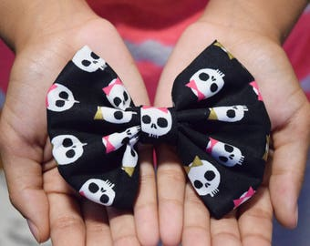 Girls Skeleton Hair Bow, Halloween Hair Bow, Halloween Hair Clip