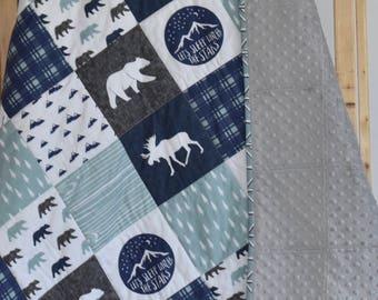 Moose Adventure quilt, minky quilt, woodland nursery, boy nursery, adventure, modern nursery, toddler quilt