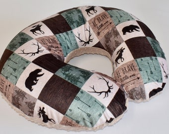 SHIPS TOMORROW - Woodland nursing  Cover, nursing pillow cover, patchwork , minky , lumberjack, boy nursery, deer, moose, baby bear