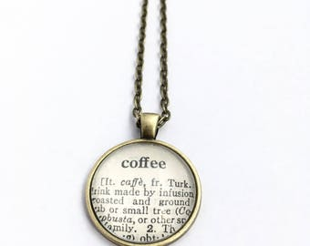COFFEE Vintage Dictionary Word Pendant