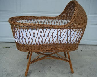 Vintage Mid Century Wicker Rattan Baby Bassinet Crib
