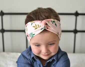 Pink Floral Baby Turban Headband, Baby Girl Headwrap, Headband, Baby Turban, Headwrap, Adult Turban, Stretchy Headband,