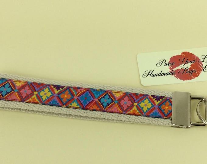 Harlequin pattern webbing key fob wristlet key ring lanyard wedding favour handmade in England