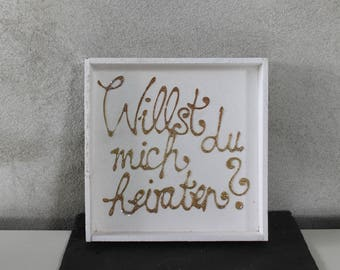 Wooden tablet, white, gold lettering, 3D