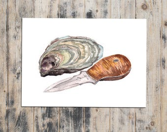 Watercolor PRINT - Oyster Knife