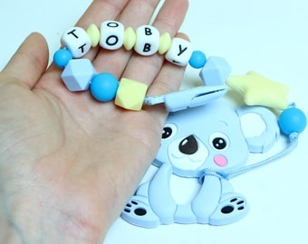 Name Silicone Pacifier, Clip Dummy, Silicone toy, Silicone Teether, Soother Clip, Color Clip, Newborn, Baby, Girl, Boy, Chew Silicone Beads