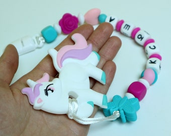 Unicorn Silicone Pacifier, Clip Dummy, Silicone toy Silicone Teether Soother Clip, Color Clip, Newborn, Baby, Girl, Boy, Chew Silicone Beads
