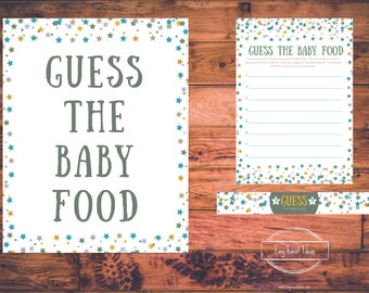 Printable Little Star Baby Shower Guess the Baby Food Game Printable Instant Download