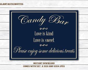 Candy Bar Sign, Bar Sign, Blue Wedding Sign, Printable Sign, Shower Sign, Blue Wedding, Candy Sign, Digital Sign, Rustic Candy Bar Sign