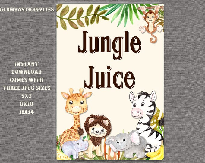 Safari Jungle Juice Sign, Jungle Baby Shower Sign, Safari Baby Shower Sign, Shower Decor, Jungle Juice Sign, Digital Sign, Jungle, Safari