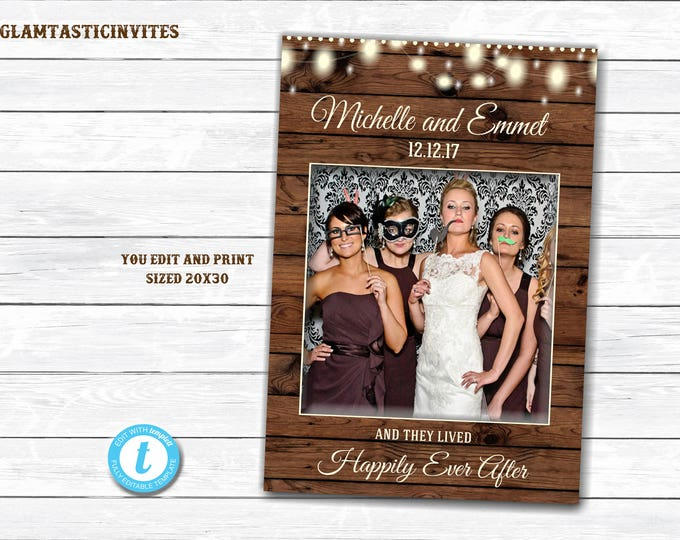 Rustic Photo Booth Frame, You Print, Printable Photo Booth Frame, Rustic Wedding, Rustic Decor, Shower Photo Frame, Photo Booth Frame, DIY