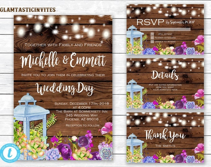 Wedding Invitation Template, Wedding Template, Succulent Wedding Invite, Rustic Wedding Invitation Template, Wedding Invitation Set,Template