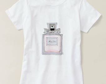 Womens Fashion Miss Dior Perfume inspired illustrated T-shirt - Illustrated white T-Shirt Graphic tee