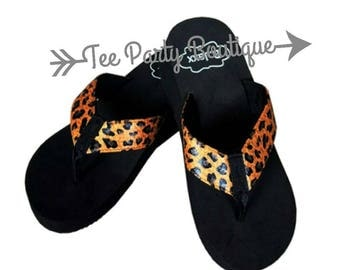 Black and Leopard Wedge Flip Flop
