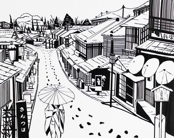 Snow in Kyoto, Japan, Kyoto, Print, Tape art, black and white