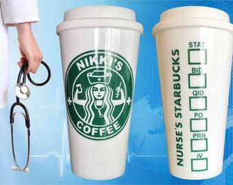 New and Improved! Nursing Starbucks Parody for Nurses RN, BSN, LVN - Great Nurse or Medical Student Graduation Gift! To-Go Coffee Travel Mug
